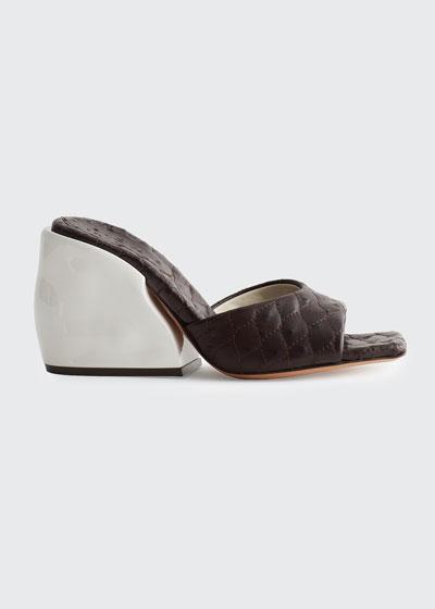 Kenji Ostrich-Embossed Slide Sandals