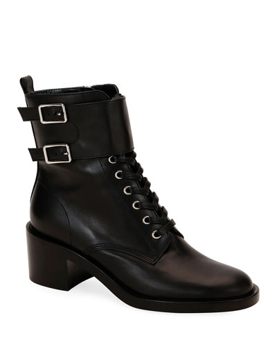 Calf Leather Side-Zip Combat Booties