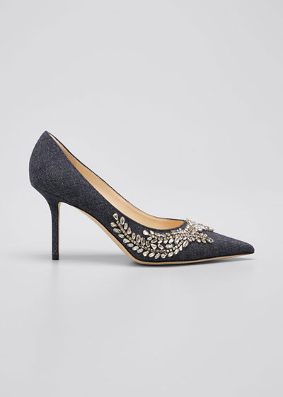 Love 85 Crystal-Embellished Denim Pumps