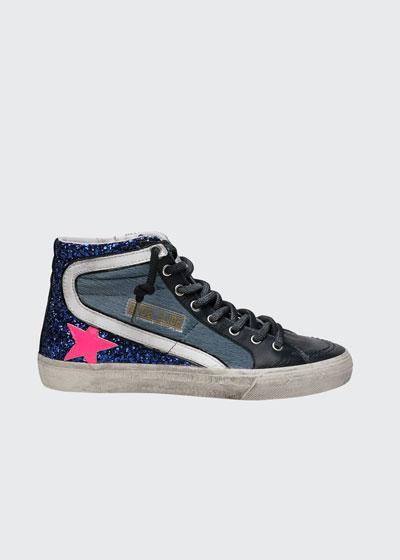 Slide High-Top Fur Glitter Sneakers