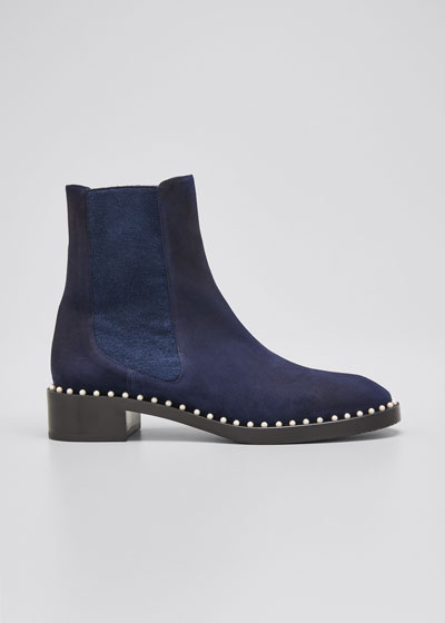 Cline Pearly Stud Suede Chelsea Booties