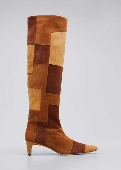 Wally Suede Patchwork Tall Boots
