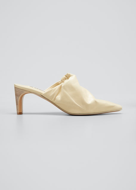 Image 1 of 1: 65mm Ruched Leather Mule Pumps