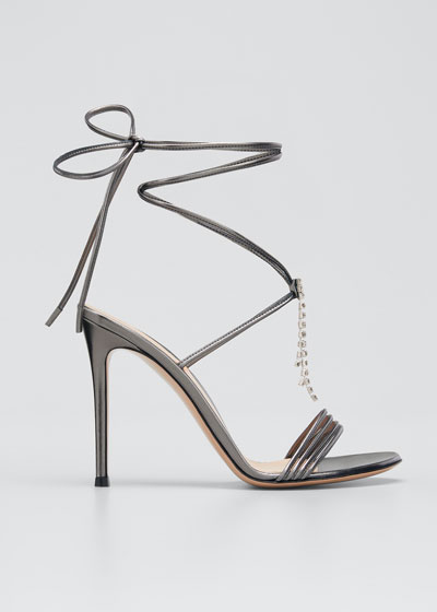 Metallic Ankle-Wrap Stiletto Sandals