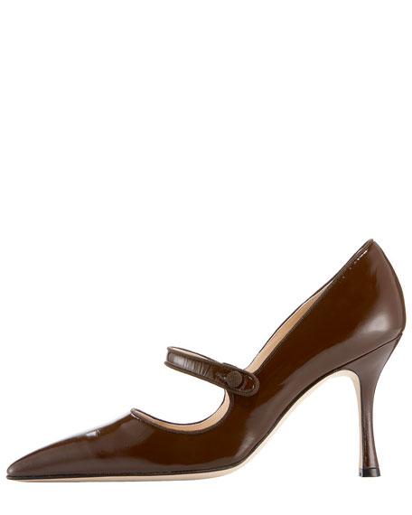 Patent Leather Mary Jane, Dark Brown
