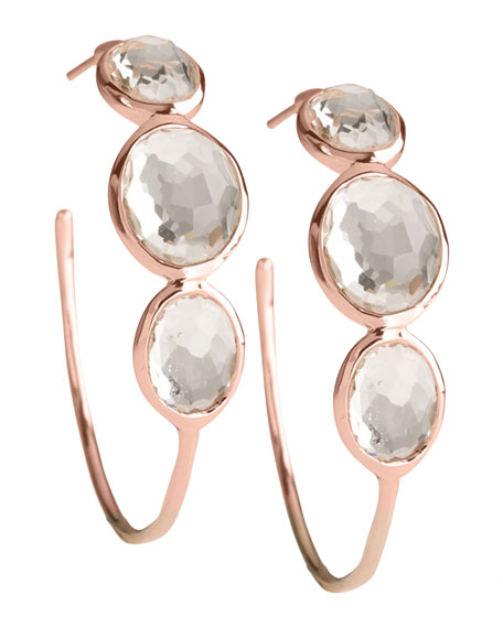 Rose Clear Quartz Hoop Earrings, Medium