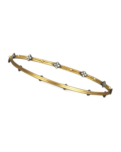 Diamond-Quatrefoil Bangle, Golden