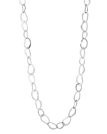 "Sculptural Wavy Link Necklace, 36""L"