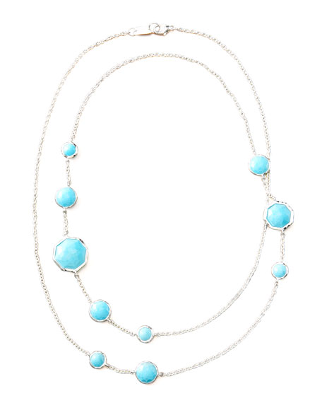 """Turquoise Station Necklace, 36""""L"""