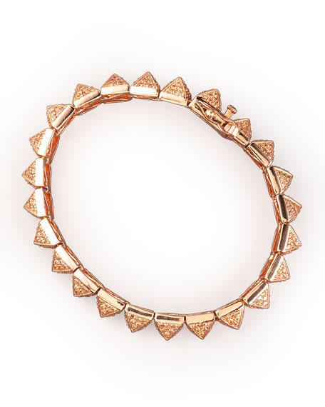 Small Pave Pyramid Bracelet, Rose Gold