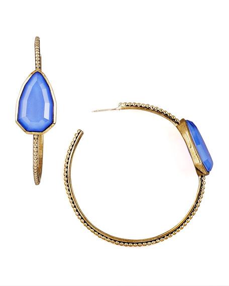 Blue Agate Cathedral Hoop Earrings