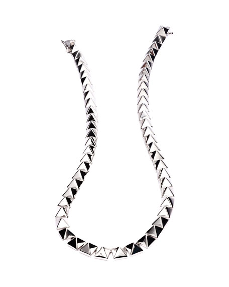 Pyramid Choker Necklace, Silver