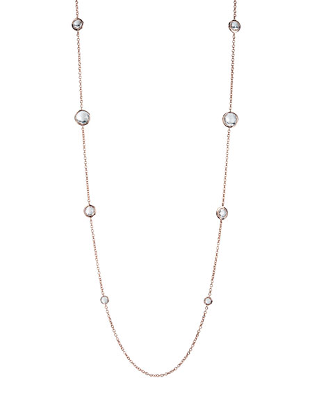 "Rose & Quartz Station Necklace, 37""L"