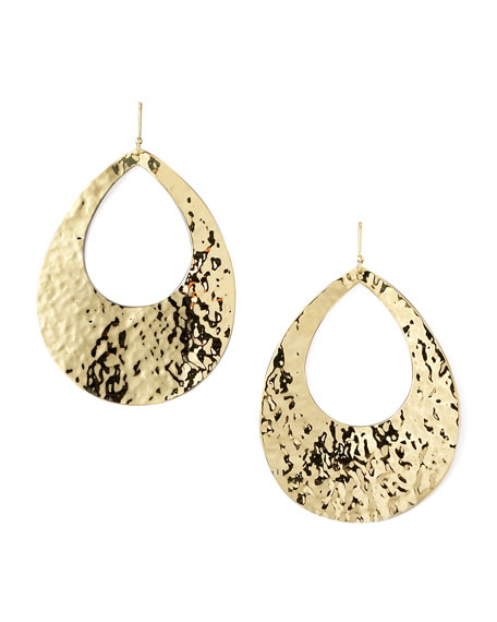 Hammered Gold Teardrop Earrings