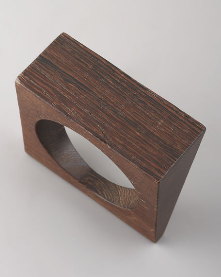 Angular Wood Bangle, Mud
