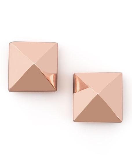 Pyramid Stud Earrings, Rose Gold
