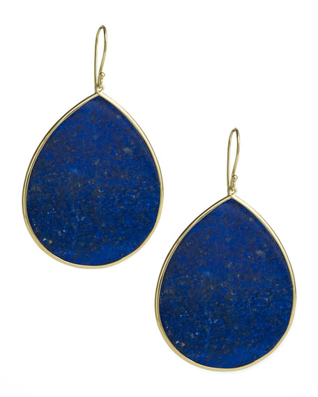 Lapis Teardrop Earrings, Jumbo
