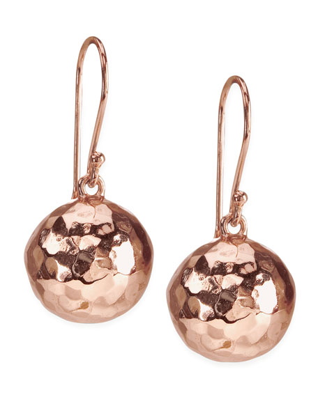 Hammered Ball Earrings, Rose Gold