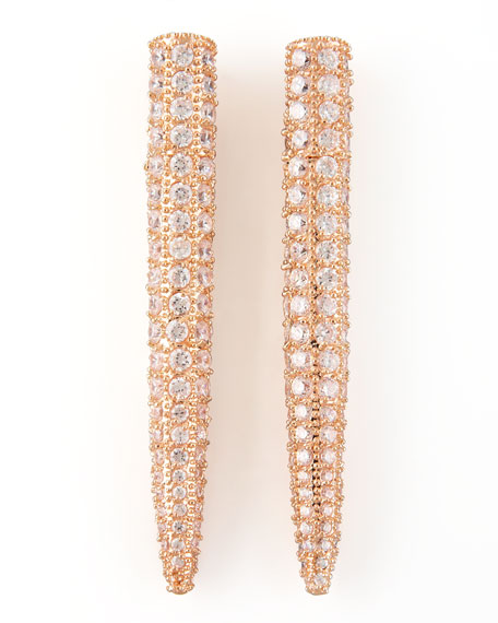 Pave Crystal Spike Earrings, Rose Gold