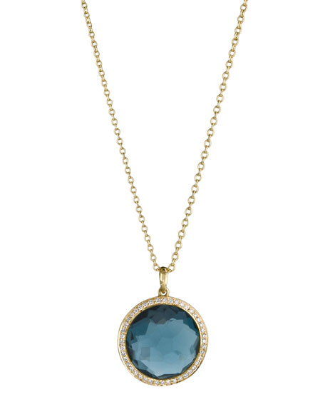 London Blue Topaz Lollipop Pendant Necklace, Mini