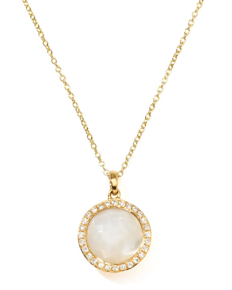Rock Candy 18k Gold Mini Lollipop Diamond Necklace, Mother-of-Pearl