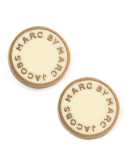 Enamel Logo Disc Stud Earrings, Cream