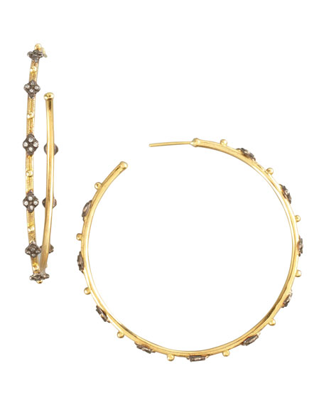 GOLD PAVE HOOP EARRING