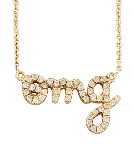 Diamond OMG Necklace, Yellow Gold
