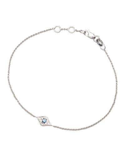 Mini Diamond Evil Eye Bracelet, White Gold