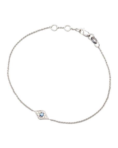 Mini Diamond Evil Eye Bracelet, White Gold