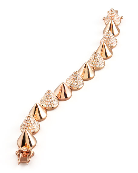 Alternating Pave Rose Gold Cone Bracelet