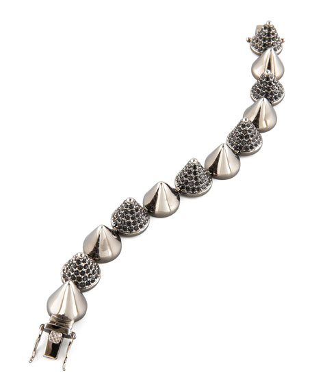 Alternating Pave Cone Bracelet, Gunmetal