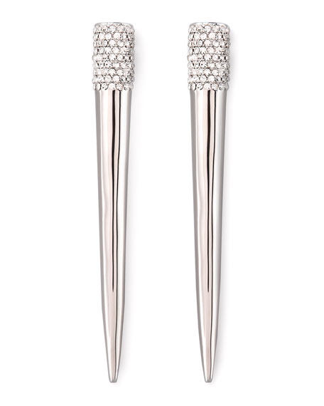 Pave Crystal Spike Earrings, Silver