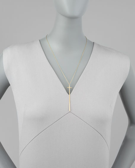 Diamond-Detailed Skinny Cross Necklace