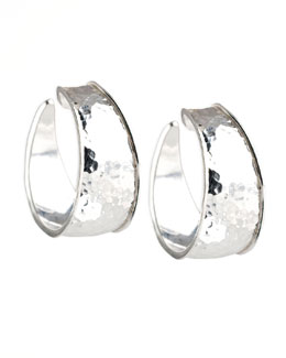 Hammered Silver Goddess Hoop Earrings, Small