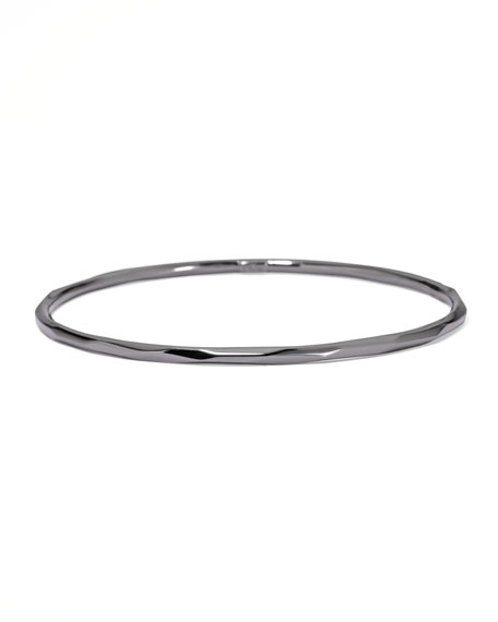 SILVER THIN FACETED BANGLE