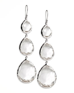 Ippolita Triple Teardrop Earrings, Clear Quartz