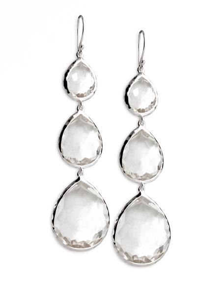 Triple Teardrop Earrings, Clear Quartz