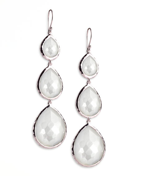 Triple Teardrop Earrings, Mother-of-Pearl