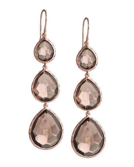 Triple-Drop Rose Earrings, Smoky Quartz