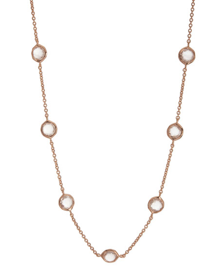 "Rose Clear Quartz Station Necklace, 18""L"