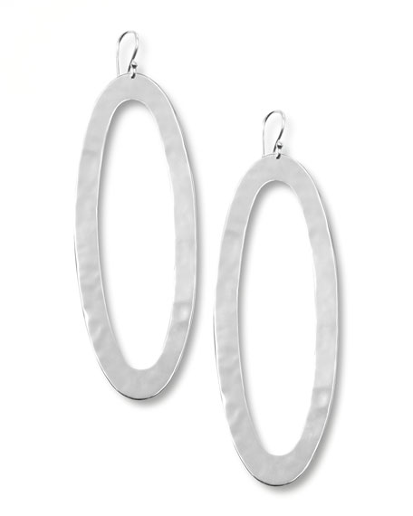 SLVR OVAL LINK DROP EARRINGS