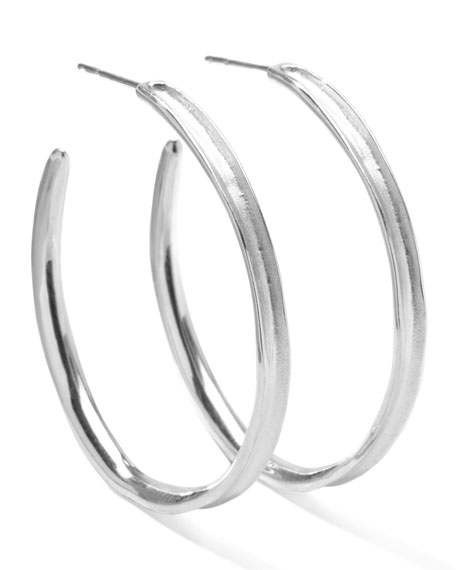 Venezia Hoop Earrings, Silver