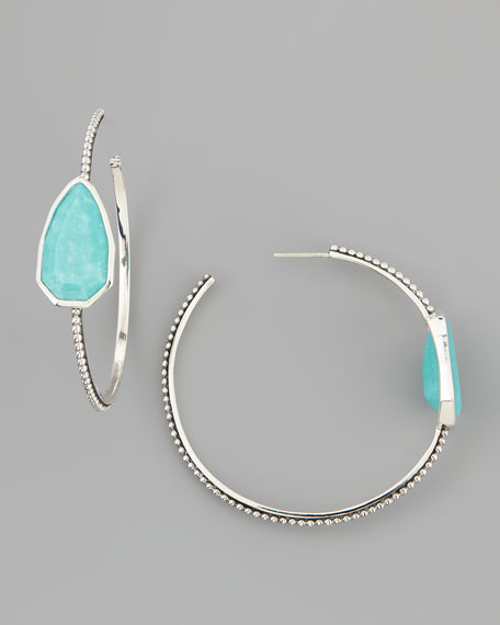 Cathedral Large Silver Hoop Earrings, Turquoise