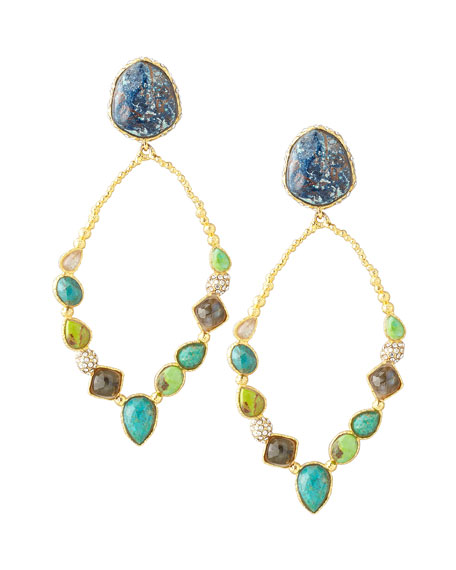 Cordova Multi-Stone Hoop Earrings