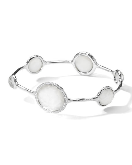 Stella Bangle in Mother-of-Pearl Doublet with Diamonds