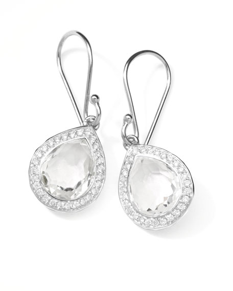 "Rock Candy Diamond Quartz Teardrop Earrings, 4/5""L"