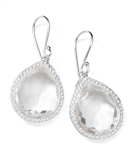 "Rock Candy Diamond Quartz Teardrop Earrings, 1""L"