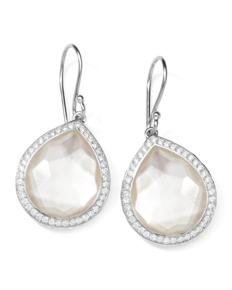 "Stella Teardrop Earrings in Mother-of-Pearl Doublet with Diamonds, 1""L"