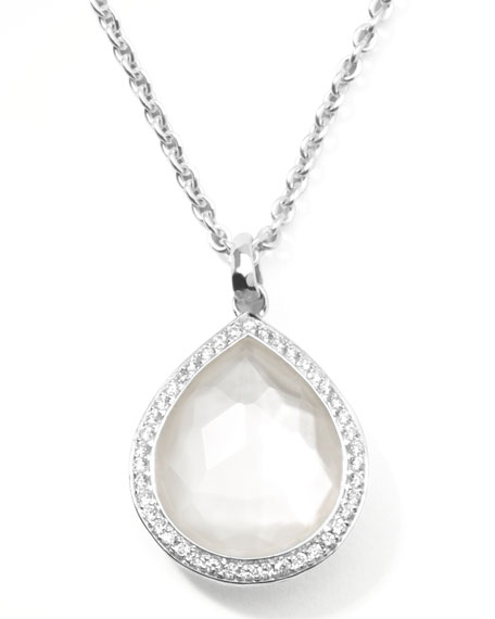 Stella Teardrop Pendant Necklace in Mother-of-Pearl with Diamonds